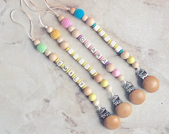 Pacifier Clip Wood Personalized Dummy Holder Wooden Teether Clip Soother Clip Newborn Baby Girl Boy Chew Baby Shower Gift