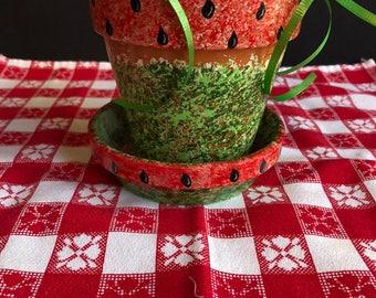 Terra Cotta Flower Pot painted in Watermelon Motif