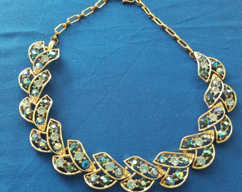 Vintage Gold Tone Blue and Teal Rhinestone Necklace