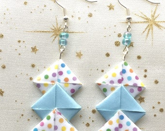 Earrings chevron paper origami/gift for her / original earrings