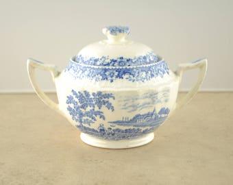 "Swinnerton's English Staffordshire ""Silverdale"" Blue Transferware Sugar Bowl"