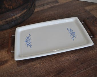 Vintage Corning Ware Cornflower Blue Warming Broil Bake Tray with Cradle