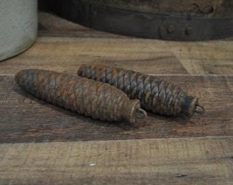 Antique Clock Pine Cone Weights Pair