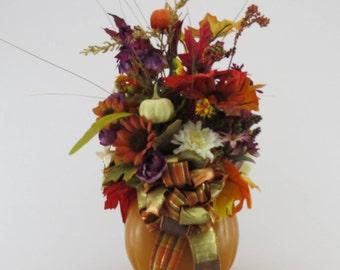 Fall Floral Arrangement, Fall Centerpiece, Fall Table, Thanksgiving Centerpiece, Pumpkin Table Arrangement, Pumpkin Floral Centerpiece