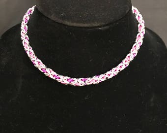 "Bright Byzantine Weave Choker Necklace (15.5"")"