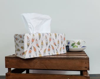 Feather Tissue Box Cover • Bohemian Style Homeware
