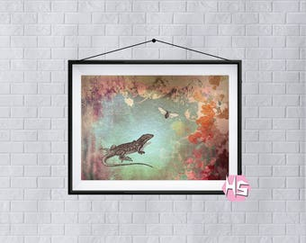 Reptile Lizard Fly Print Wall Art Poster Unusual Quirky A3 TOP QUALITY PRINT