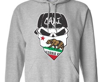 California Republic Cali Skull Cali Love Printed Adult Unisex Hoodie Hooded Sweatshirt for Men and Women