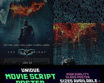 Batman - The Dark Knight - Christopher Nolan - Movie Script Posters & Prints - Entire Script !!