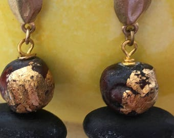 African Beads and Wood Post Earrings