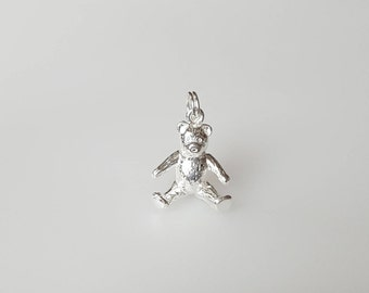 Gift for her Teddy Bear Charm Pendant in .925 Sterling Silver