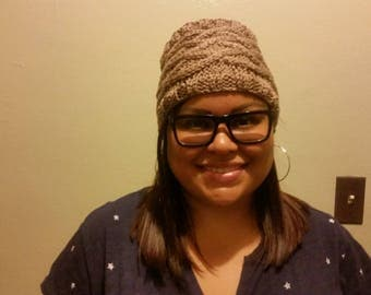 Lattice Bunless Hat- Taupe