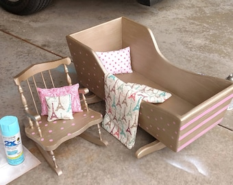 Wooden doll bed, chair, and bedding