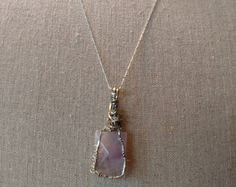 Silver wire wrapped amethyst stone pendant necklace