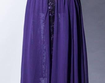 purple lilac evening lace gown, chiffon skirt