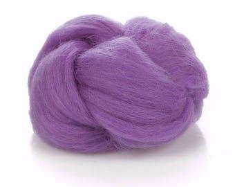 Wool Buns Roving - 24 Microns Merino Wool Violet - Needle Felting Wool - Soft Wool Roving in Purple - Wet Felting - Purple Wool for Spinning