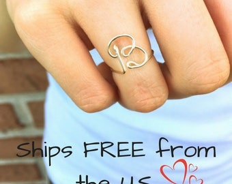 Custom initial ring, letter ring, personalized jewelry, best friend gift, dainty silver ring, minimal ring, Valentine's gift