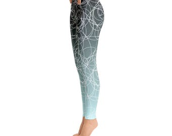 Light Blue Leggings / Swirl Leggings / Black Leggings / Faded Leggings / Workout Leggings / Yoga Pants / Printed Leggings / Womens Leggings