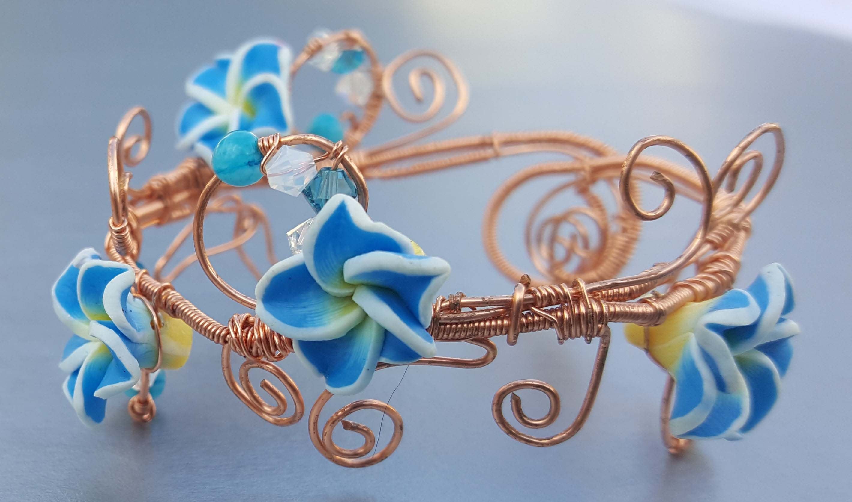 Wire-wrapped Bracelet with Polymer Clay Flowers [E10231018402370802M ...