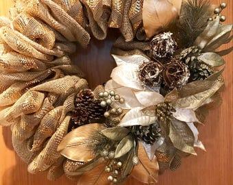 Elegant Christmas/Holiday Burlap and Decorative Mesh Wreath, Deco Mesh Christmas Wreath, Gold Wreath, Holiday Wreath, Holiday Door Decor,