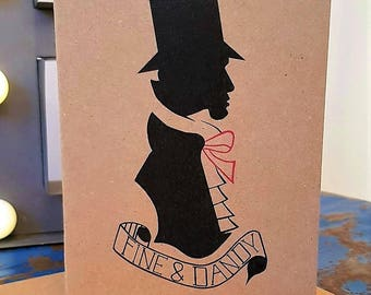 Birthday card for Him - Boyfriend Card - Husband Card - Dandy Card - Hipster Card - Dandyism - Silhouette - Victoriana - Blank inside