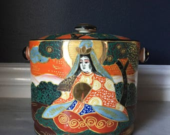 Vintage Ceramic Takito Satsuma Moriage Canister with Lid