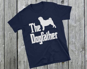The Dogfather t-shirt, Pug silhouette, funny dog gift, The Godfather parody, dog lover shirt, dog gift, Short-Sleeve Unisex T-Shirt