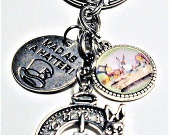 Alice In Wonderland Inspired Charm Key Ring