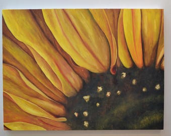 "Flower painting, original oil on Canvas Painting, Sunflower, Abstract art, 40"" x 30"", landscape, Wall art, large painting,spring"