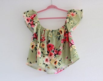 RTS, Green floral Top, off the shoulder, baby top, baby shirt, baby clothes, baby girl clothes, baby girl, girls shirt, toddler, floral