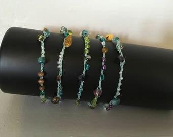 Teal crochet bead necklace wrap