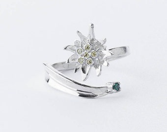 Sterling silver Edelweiss adjustable ring