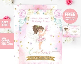 Princess Fairy Birthday Invitation, Fairy Invitation, Fairy Invite, Tinkerbell Invite, Fairies Invite, Fairy party, First Birthday, 1st