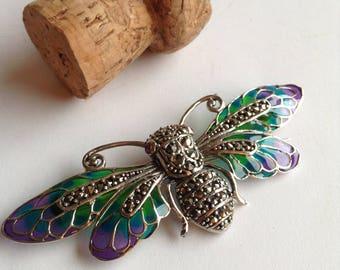 Sterling silver enamel marcasite bee brooch/pendant
