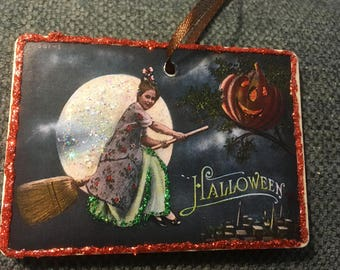 Halloween Vintage Homemade Wood Ornament Glitter Flying Witch on Broom Full Moon