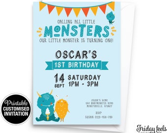 Calling All Monsters Birthday Invitation, blue boy invitation, 1st birthday invite customized digital printable