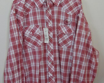 Vintage Deadstock 90s Wrangler Mens 3XLT Long Sleeve Cowboy Western Collared Shirt Checkered Red