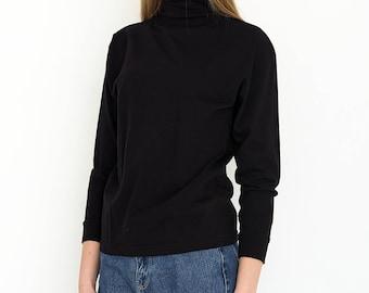 VINTAGE Black Polo Neck Long Sleeve Retro Blouse