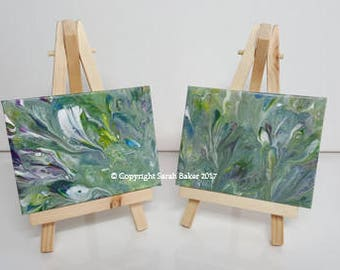 Set of 2 original acrylic mini canvases on display easels (Peacock)