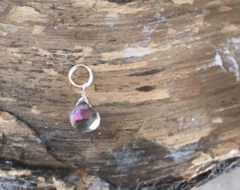 Mystic Topaz drop, 17mm, December birthstone, necklace accessory,Xmas gift,purple dangle,iridescent, topaz dangle, sterling silver, charm