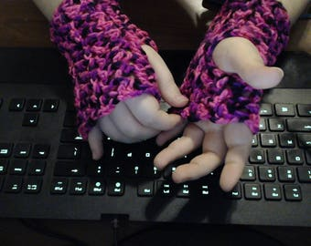 Variegated Pink And Black Fingerless Gloves
