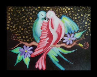 Original painting Kissing Birds mix media Painting Bird Lover Gift Wall Art Birds In Love Bedroom Wall Decor Bird House Bird Decor Bird Art