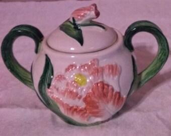 Fitz and Floyd Vintage Pink Flower Sugar Bowl