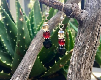 Black and red silver earrings