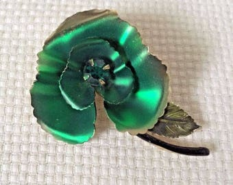 Kelly Green Enamel and Rhinestone Flower Brooch Pin