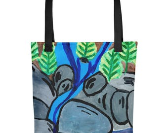 River Rocks - Amazingly beautiful full color tote bag with black handle featuring children's donated artwork.