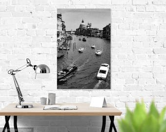 "Venice Canal Black and White Wall Print: ""Winding Through the Canals"""