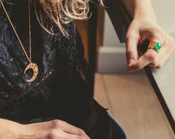 Luna, Moon necklace, gold filled necklace