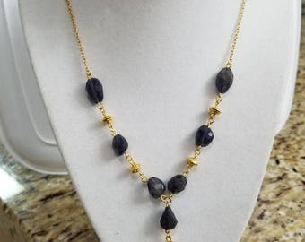 Carnelian & Iolite Necklace with matching Carnelian earrings, Classy Girlfriend Gift, Valentines Gift