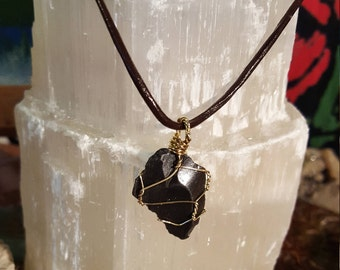 Wire Wrapped, Black Obsidian Pendant